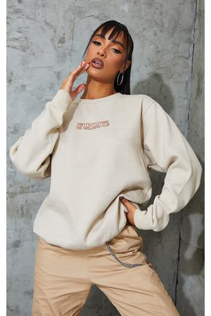 PRETTYLITTLETHING Sand The Wellness Club Embroidered Sweatshirt