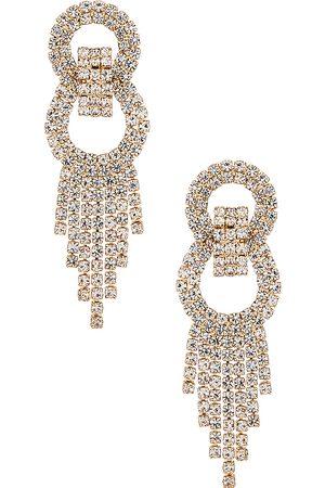 Ettika Crystal Fringe Earrings in Metallic .