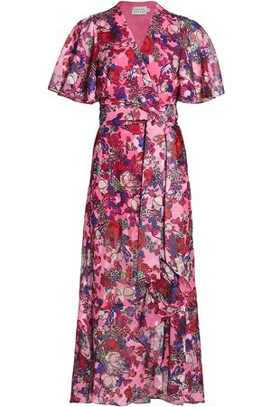 TANYA TAYLOR Women Printed Dresses - Women's Blaire Floral Midi Wrap Dress - Floral Neon Multi - Size 18