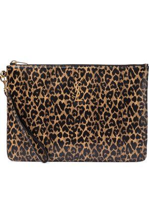Saint Laurent Women Bags - Leopard-print leather tablet pouch