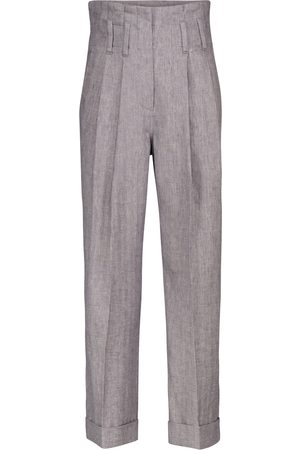 Brunello Cucinelli Women Stretch Pants - High-rise straight stretch-linen pants