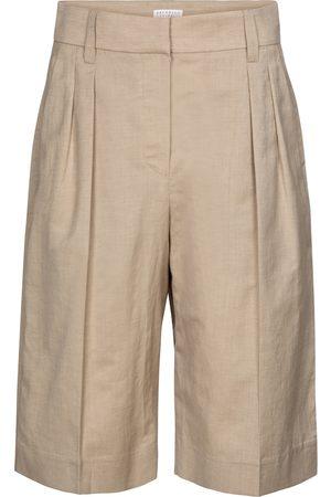 Brunello Cucinelli Women Bermudas - Bermuda wool and linen shorts