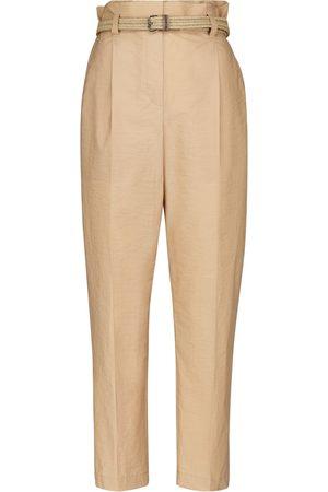 Brunello Cucinelli High-rise cotton twill cigarette pants