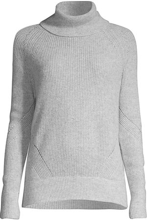 MINNIE ROSE Women Turtlenecks - Women's Shaker Stitch Turtleneck Sweater - Light Heather Grey - Size Large