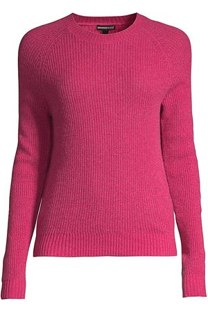 MINNIE ROSE Women Tops - Women's Shaker Stitch Cashmere Crewneck Sweater - Cerise - Size XS