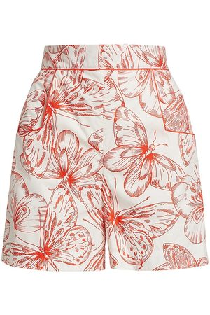 LELA ROSE Women Printed Dresses - Women's Butterfly-Print Cotton Poplin High-Rise Shorts - Ivory Multi - Size 6