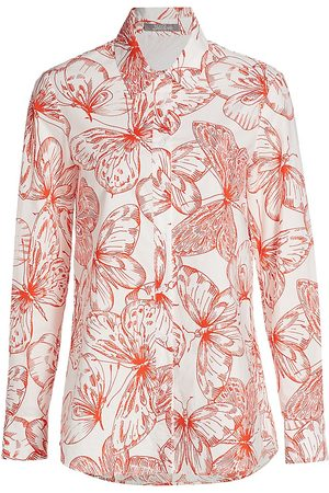 LELA ROSE Women's Butterfly-Print Cotton Poplin Shirt - Ivory Multi - Size 16