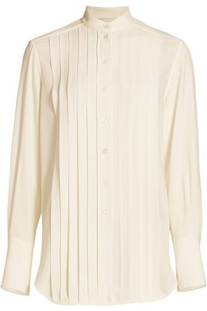 3.1 Phillip Lim Women's Pleated Button-Up Shirt - Ivory - Size 6