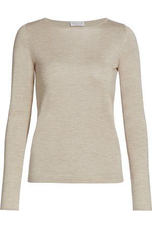 Brunello Cucinelli Women's Cashmere & Silk Boatneck Long-Sleeve Shirt - Sand - Size XL