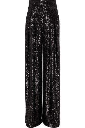 Balmain High-rise sequined wide-leg pants