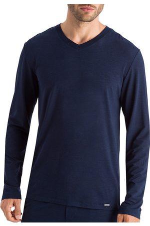 Hanro Men's Casuals Long-Sleeve V-Neck T-Shirt - Deep Navy - Size Large