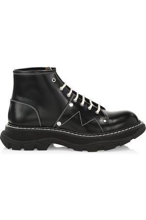 Alexander McQueen Men's Shiny Liquid Spazzolato Leather Combat Boots - - Size 42.5 (9.5)