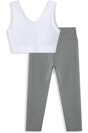 HABITUAL Girl's 2-Piece Cropped Tank & Leggings Set - Grey Heather - Size Small/Medium (7-10)