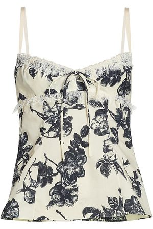 BROCK COLLECTION Women's Siria Floral Print Camisole - Ivory Navy - Size 6