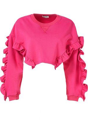 AMUR Women's Anastasia Ruffle Crop Sweatshirt - Magenta - Size Large