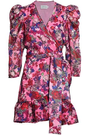 TANYA TAYLOR Women's Sasha Floral Puff-Sleeve A-Line Wrap Dress - Floral Neon Multi - Size 10