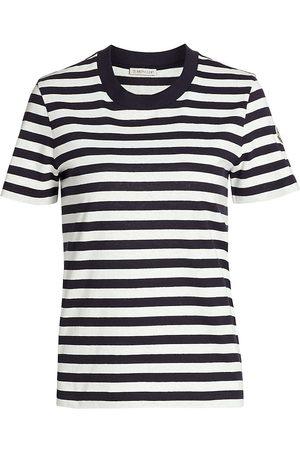 Moncler Women's Stripe Cotton T-Shirt - Navy Stripe - Size Small