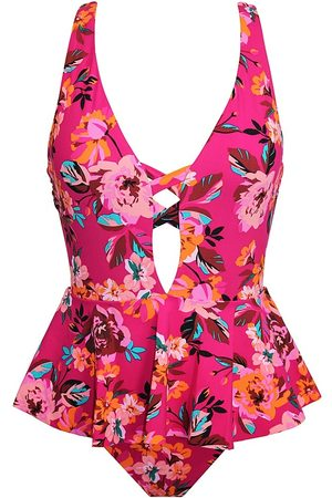 Skinny Dippers Women's Hot House Floral One-Piece Swimsuit - Punch - Size Large
