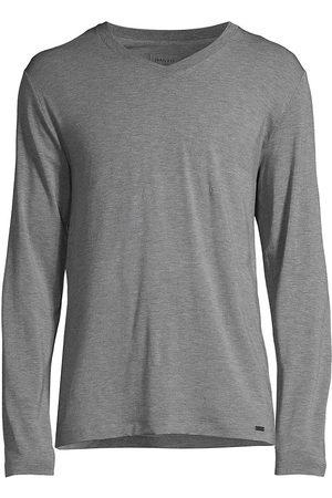 Hanro Men Long Sleeve - Men's Casuals Long-Sleeve V-Neck T-Shirt - Stone Melange - Size Small