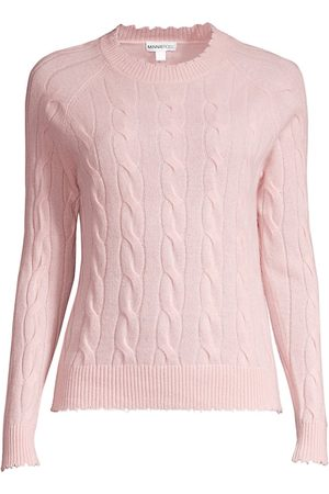 MINNIE ROSE Women's Cable Knit Frayed Crewneck Cashmere Sweater - Sand - Size Small
