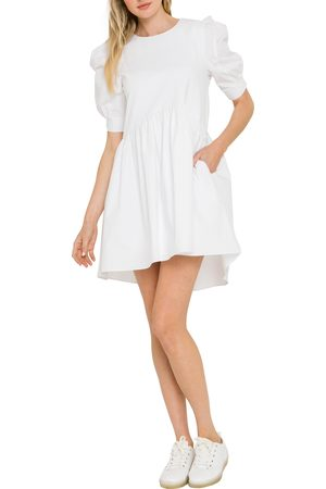 ENGLISH FACTORY Women's Mixed Media Puff Sleeve Dress