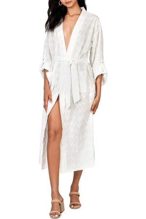 Lost + Wander Women's Angel In Disguise Floral Embroidery Cotton Robe