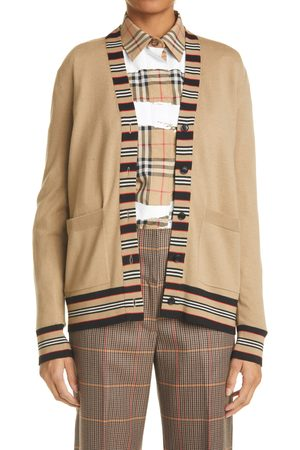 Burberry Women Cardigans - Women's Cauca Icon Stripe Trim Merino Wool Cardigan