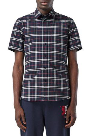 Burberry Men's Simpson Check Short Sleeve Button-Up Shirt