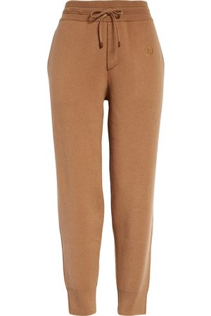 Burberry Women's Tb Monogram Embroidered Cashmere Blend Crop Joggers