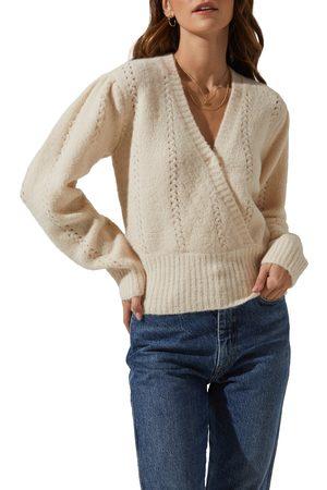 ASTR Women's Wrap Front Pointelle Sweater