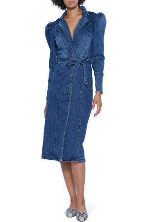 WASH LAB Women's Crossover Denim Long Sleeve Midi Dress