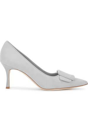 Manolo Blahnik Maysale 70 light grey suede pumps