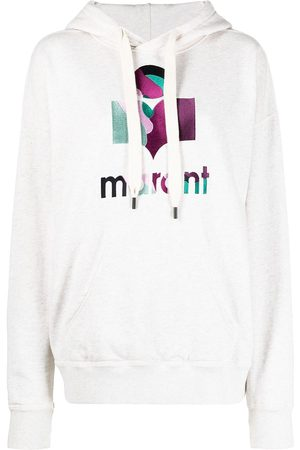 Isabel Marant Logo-print drawstring hoodie - Neutrals