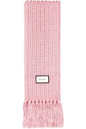 Gucci Logo patch knitted wool scarf