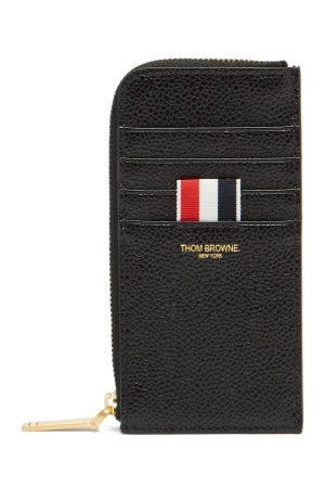 Thom Browne Men Wallets - Logo-print Grained-leather Zip-around Wallet - Mens