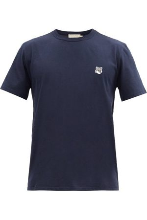 Maison Kitsuné Fox Head-patch Cotton-jersey T-shirt - Mens - Navy