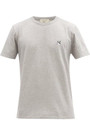 Maison Kitsuné Men T-shirts - Fox Head-patch Cotton-jersey T-shirt - Mens - Grey