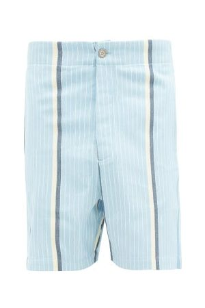 P. Le Moult Striped Brushed-cotton Pyjama Shorts - Mens - Multi