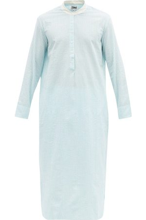 P. Le Moult Men Pajamas - Band-collar Striped Cotton-seersucker Nightshirt - Mens - Light