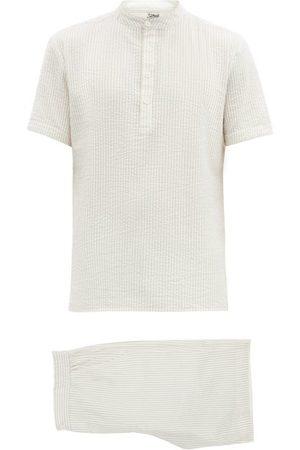 P. Le Moult Men Pajamas - Piped Striped Cotton-seersucker Pyjamas - Mens - Multi