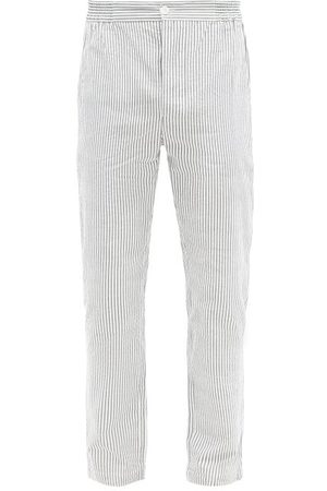 P. Le Moult Men Pajamas - Striped Cotton-seersucker Pyjama Trousers - Mens - Multi