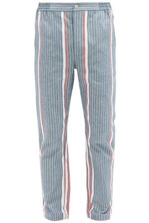 P. Le Moult Men Pajamas - Striped Herringbone-cotton Pyjama Trousers - Mens - Navy Multi