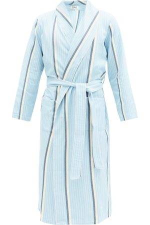 P. Le Moult Belted Striped Cotton Herringbone Bathrobe - Mens - Multi