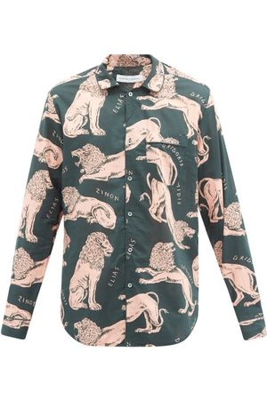 Desmond & Dempsey Men Pajamas - Circe Lion-print Cotton-poplin Pyjama Shirt - Mens - Multi