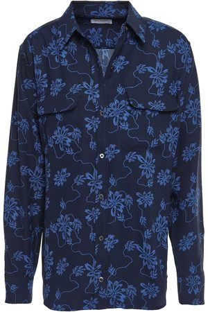 Equipment Woman Signature Floral-print Washed-crepe Shirt Midnight Size XS