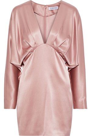 Cushnie Woman Pleated Draped Silk-satin Mini Dress Blush Size 2