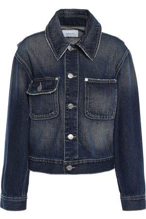 Current/Elliott Woman Distressed Denim Jacket Dark Denim Size 1