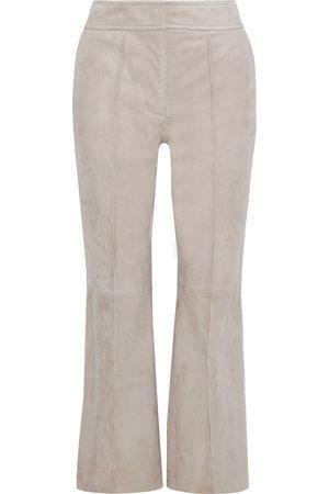 Joseph Woman Ridge Cropped Suede Flared Pants Neutral Size 34