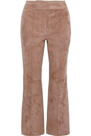 Joseph Woman Ridge Cropped Suede Flared Pants Antique Rose Size 34