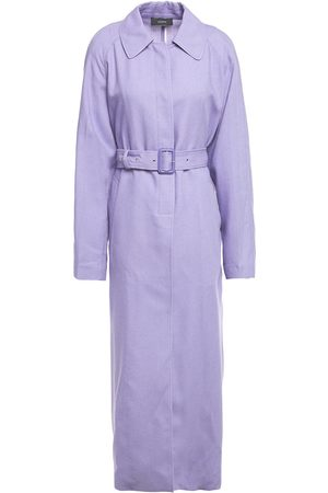 Joseph Woman Harris Belted Woven Trench Coat Lavender Size 38